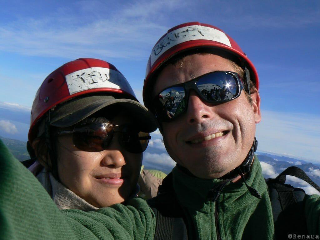 Volcan actif - Jay et moi sur le Volcan Villarica - Voyage solo