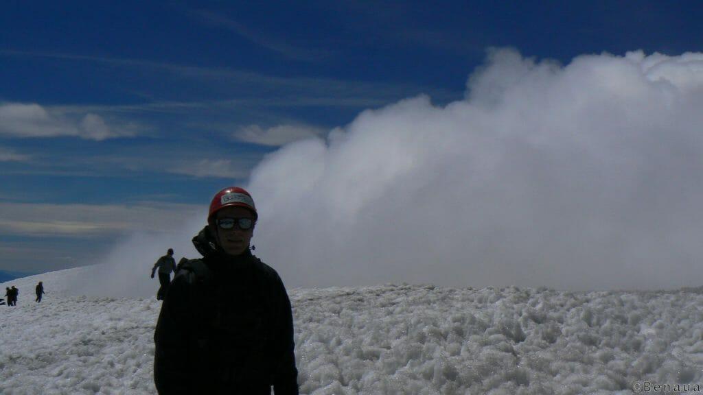 Moi au sommet du Volcan actif Villarica à Pucon Chili
