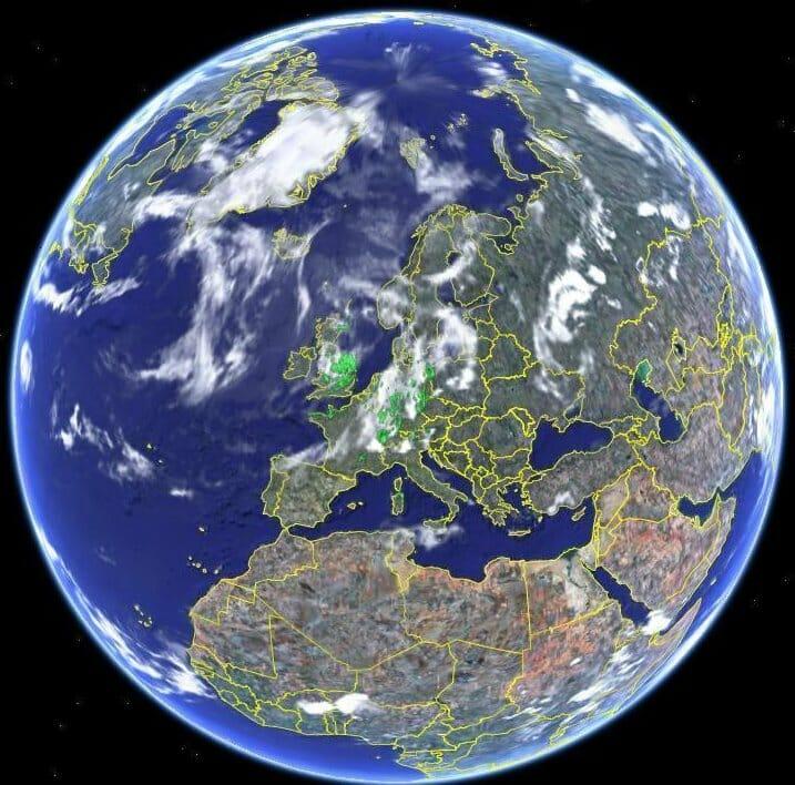Premiere etape de Tour du Monde - image de la planète Terre