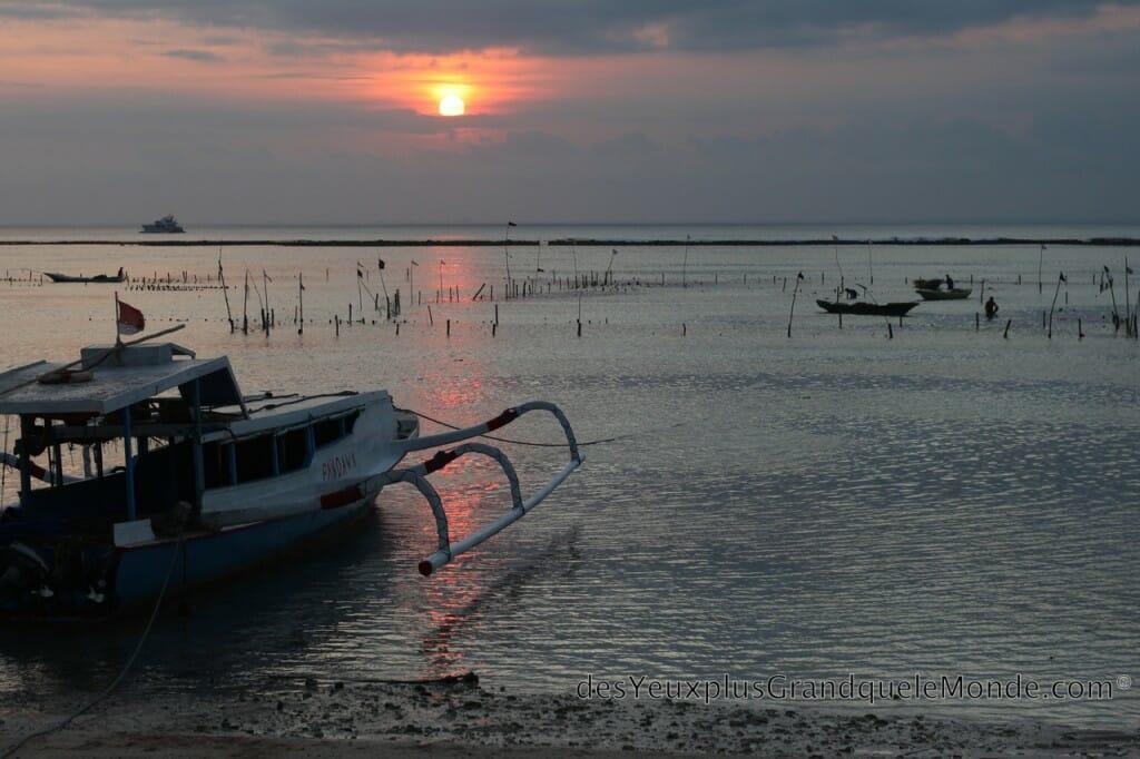 Apprendre la plongée à Bali - Couché de soleil sur Lembongan