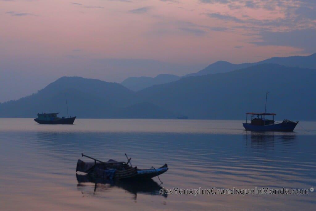Baie d'Halong - Coucher de soleil sur Quan Lan