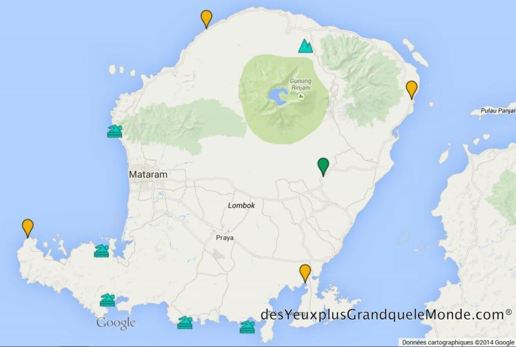 Carte des plages de rêve de Lombok