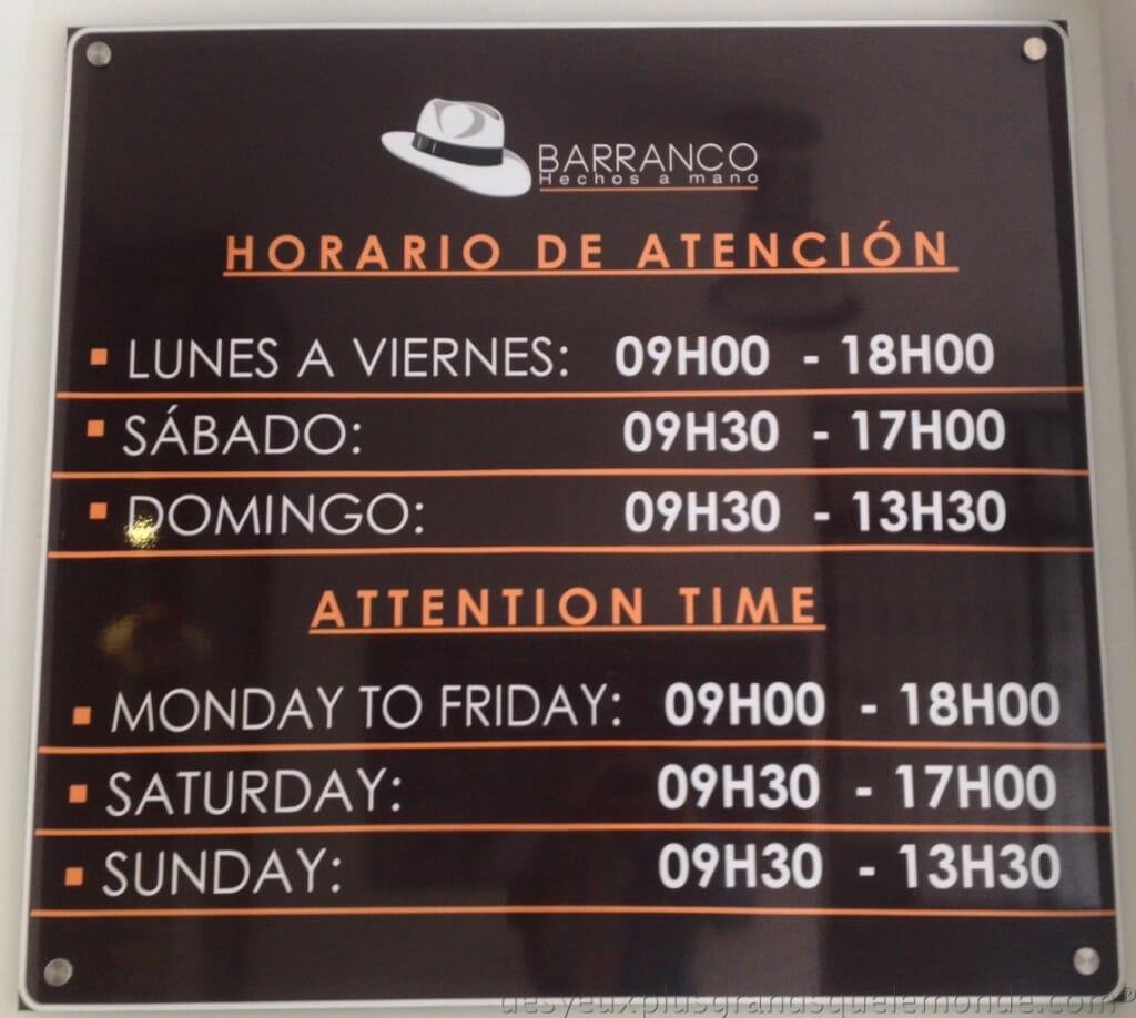 Fabriquer votre Panama en Equateur - Horaires d'ouverture de l'atelier Barranco
