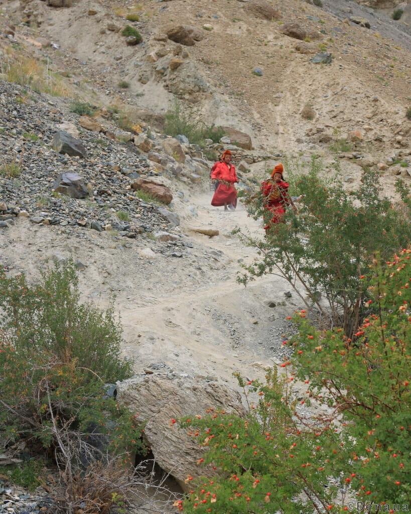 Monastères bouddhistes au Zanskar en Himalaya - Jeunes moines allant à l'école