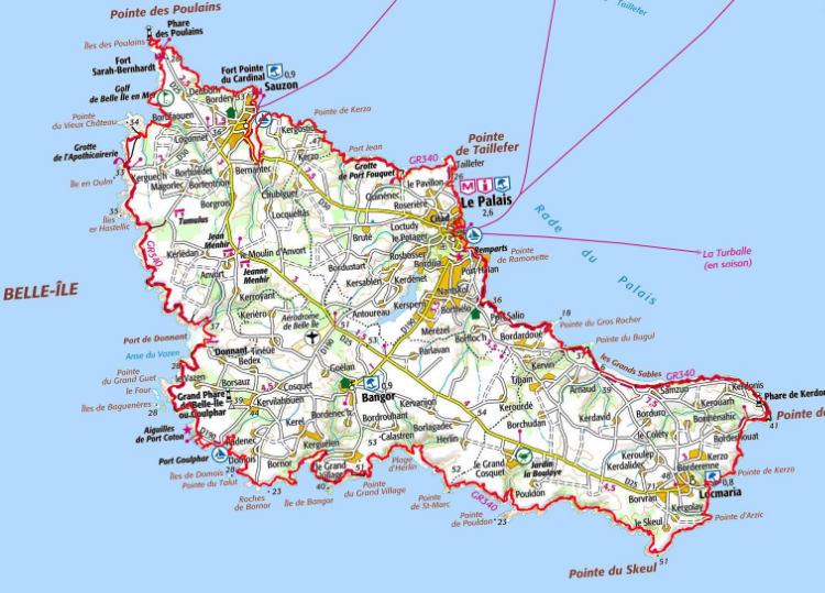 Carte du GR340 autour de Belle-Ile-en-Mer