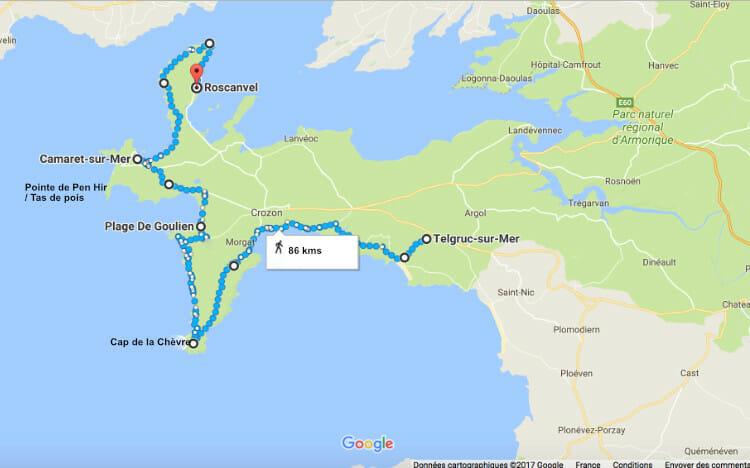 Carte de randonnée autour de la Presqu'ile de Crozon