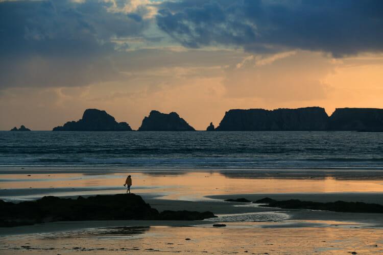 Randonnée autour de la Presqu'Ile de Crozon - Coucher de soleil sur la plage de Goulien