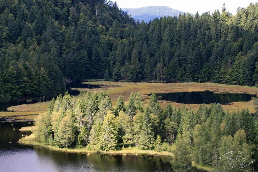 Autour de Corcieux - Lac de Lispach - Vue des hauteurs