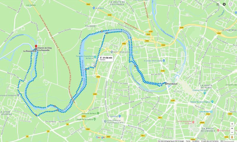 Randonner en Deux-Sèvres - Carte de la randonnée des quais