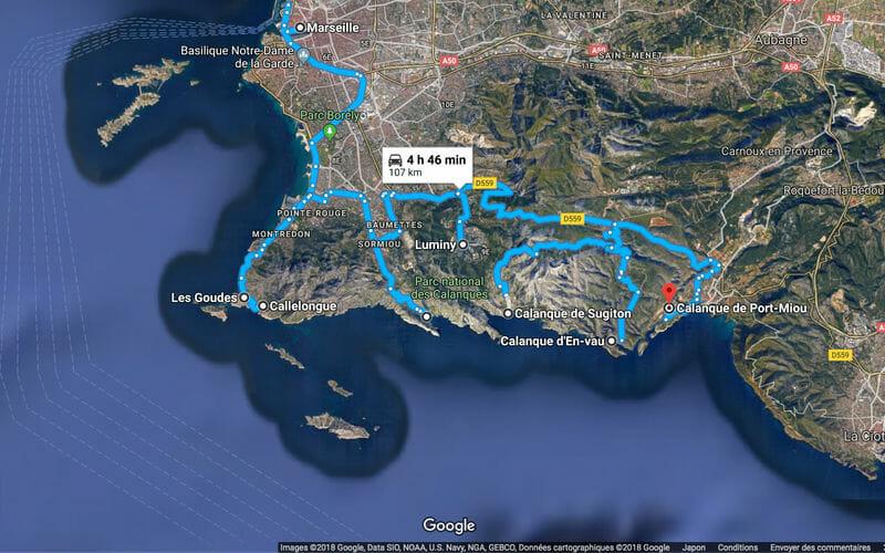 Que faire à Marseille - Carte road-trip Calanques