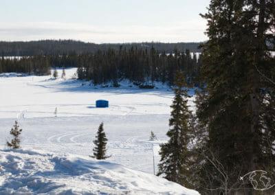 Tente pour la pêche sur glace à Blachford Lake Lodge