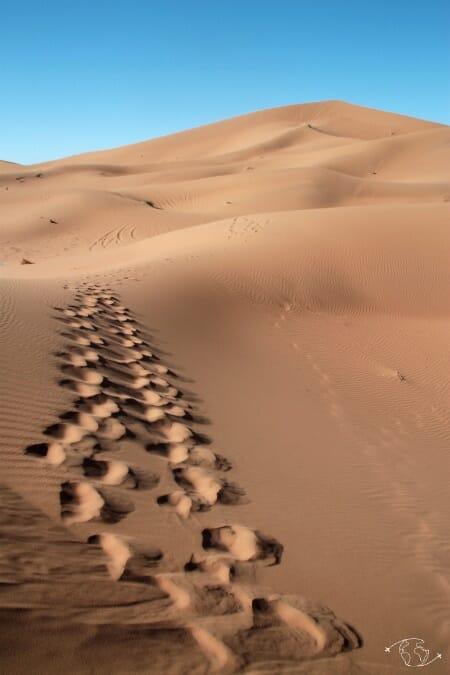 Désert du Sahara - Ascension vers le sommet de la dune de Chegaga