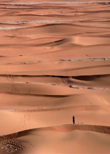 Désert du Sahara - Vue du haut de la dune de Chegaga