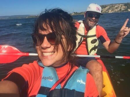 Aude et moi sur le kayak à Port Mahon