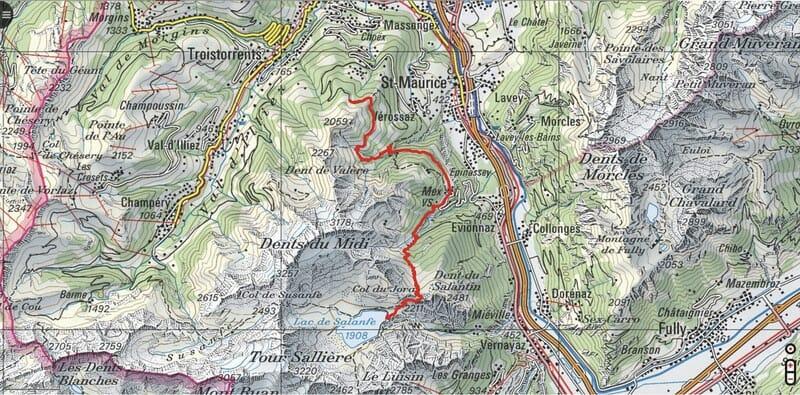 Tour des Dents du Midi - Etape 3 : Auberge de Chindonne - Mex - Cabane de Salanfe