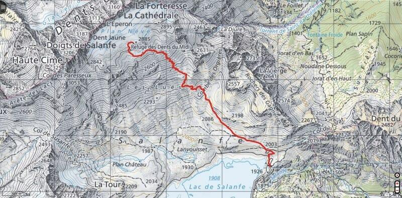Randonnée suisse - Trace GPS de la randonnée vers le Refuge des Dents du Midi