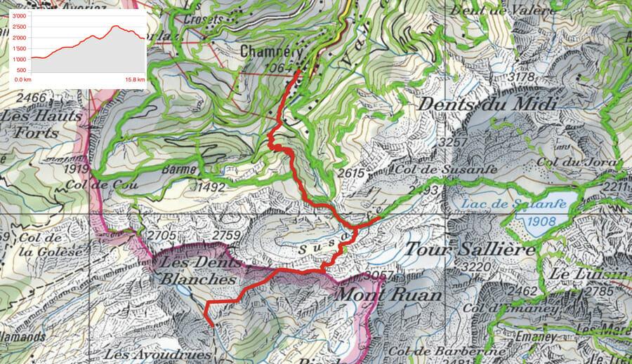 Carte étape 1 - Champéry - Refuge de la Vogealles - Tour du Ruan