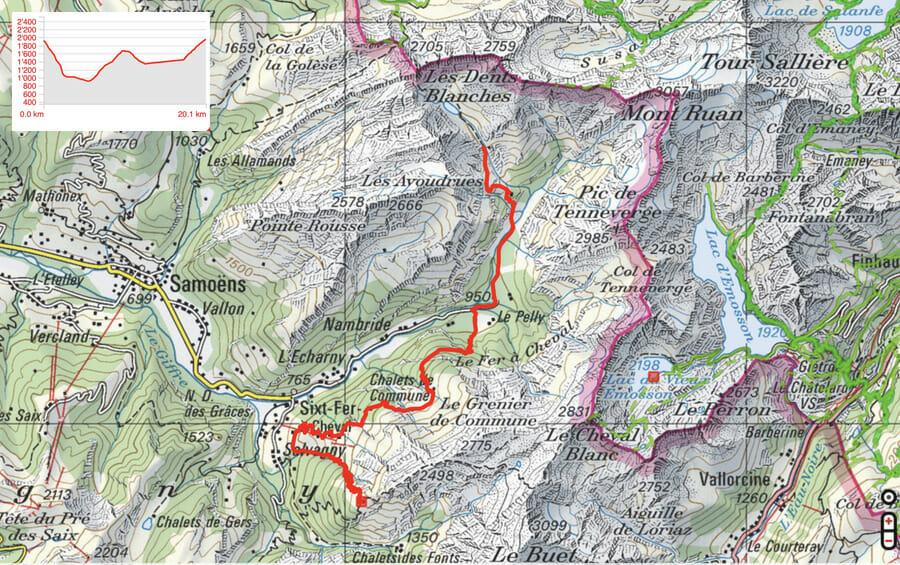 Carte Etape 2: Vogealle - Refuge de Grenairon - Tour du Ruan