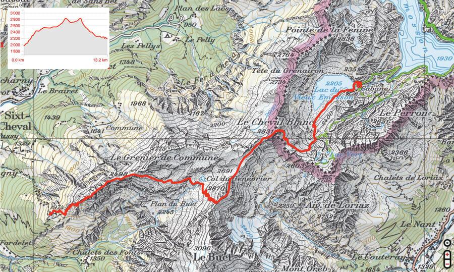 Carte Etape 3 - Grenairon - Vieux Emosson - Tour du Ruan