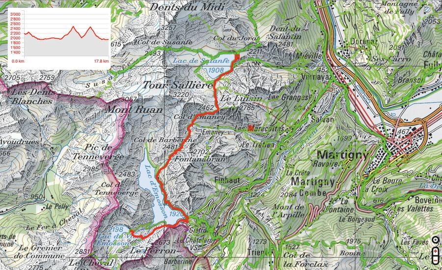 Carte Etape 4 - Vieux Emosson - Auberge de Salanfe - Tour du Ruan