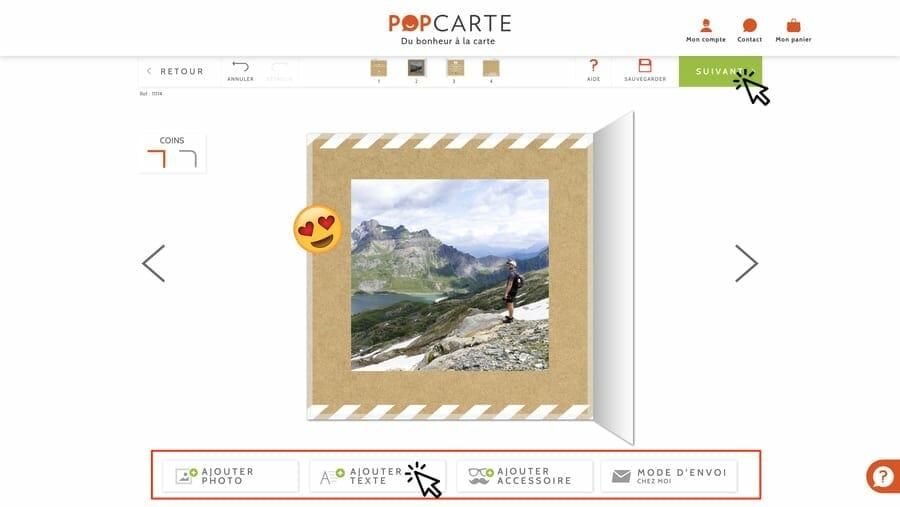 Ecran choix d'une photo - Popcarte