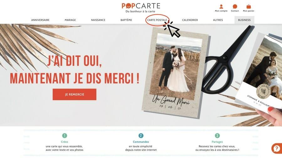 Envoyer une carte postale en ligne - Ecran d'accueil - Popcarte