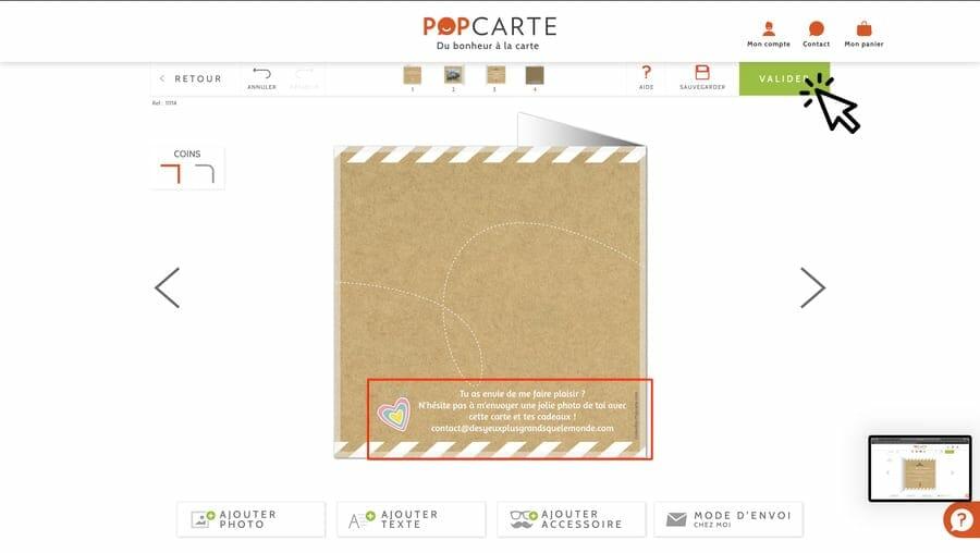 Personnalisation de l'arrière carte - Popcarte