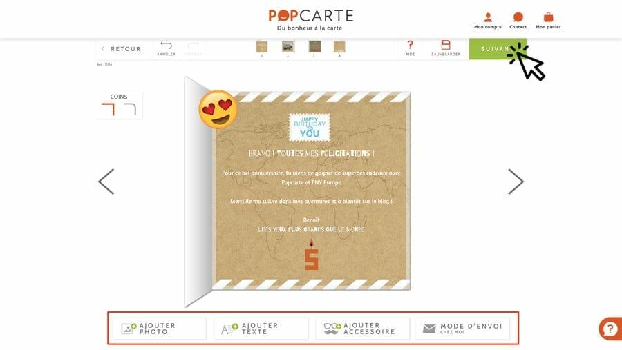 Personnalisation de l'intérieur carte - Popcarte