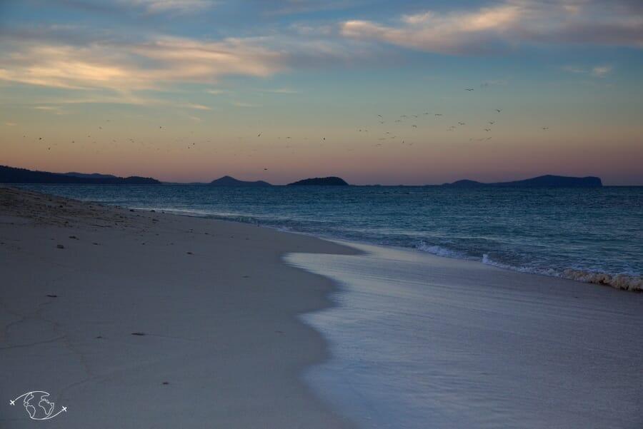 Coucher de soleil sur l'îlot de sable blanc - Mayotte