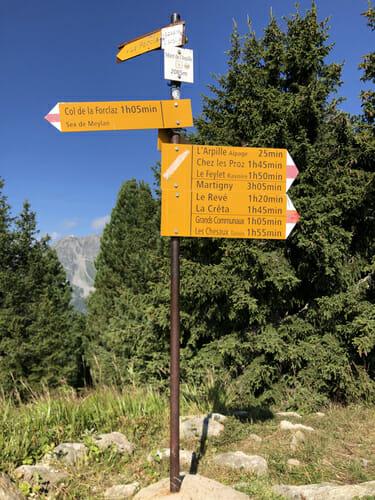 Panneau au sommet du Mont de l'Arpille