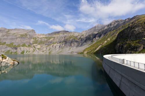 Vue du barrage sur le Lac du Vieux Emosson