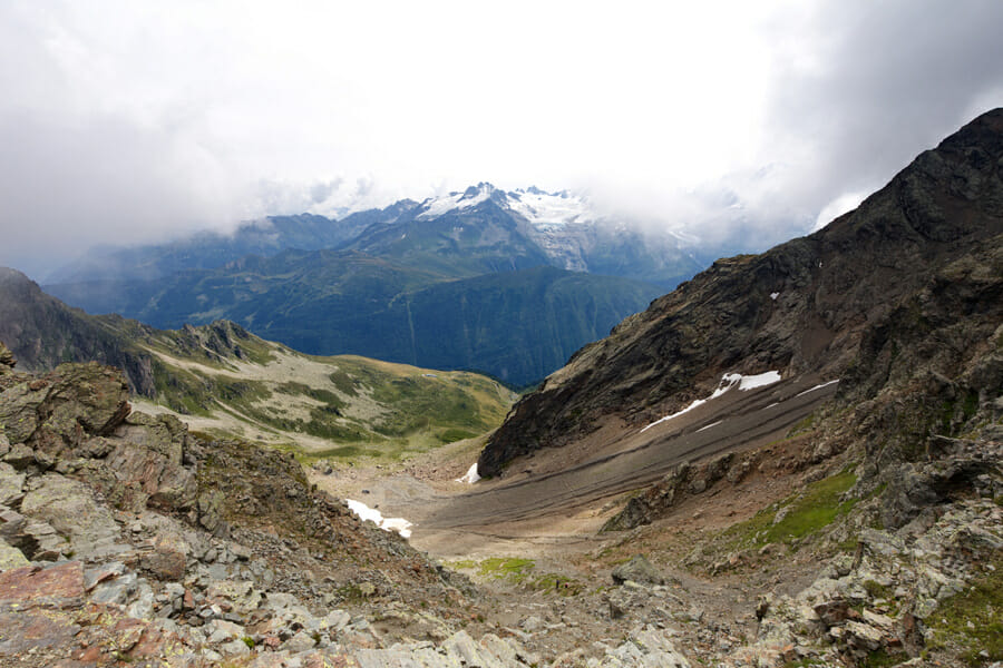 Vue du Col de la Terrasse côté Vallorcine - Tour de la Vallée du Trient