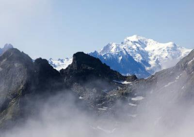Vue sur le Mont Blanc du Col d'Emaney - Vallée du Trient