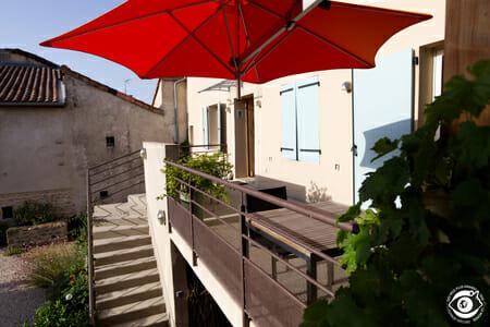 Terrasse du gîte Le Puit de Sophie - Aubenas - Ardèche