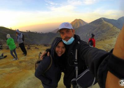 Anidah & moi sur le Volcan Ijen - Indonésie