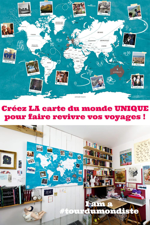 LA carte du monde murale à personnaliser pour faire revivre ses voyages
